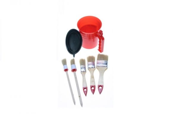 Pot with round and flat brushes | HP-L1002